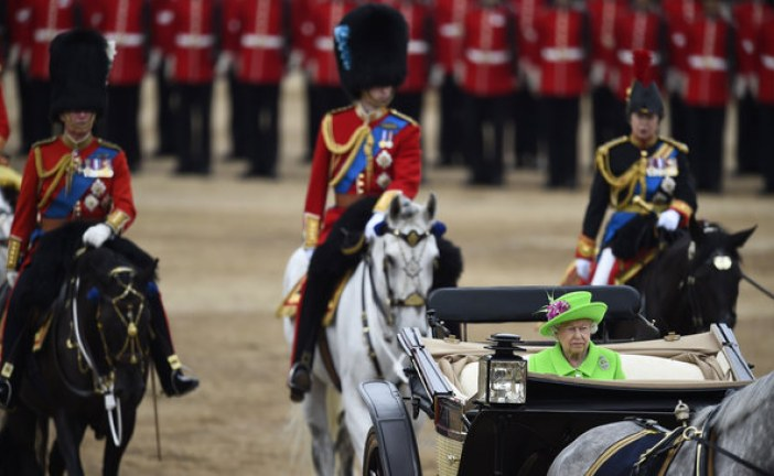 Trooping The Colour For Queen's Birthday Sees Soldier Collapse Face-Down On Horseguards Parade