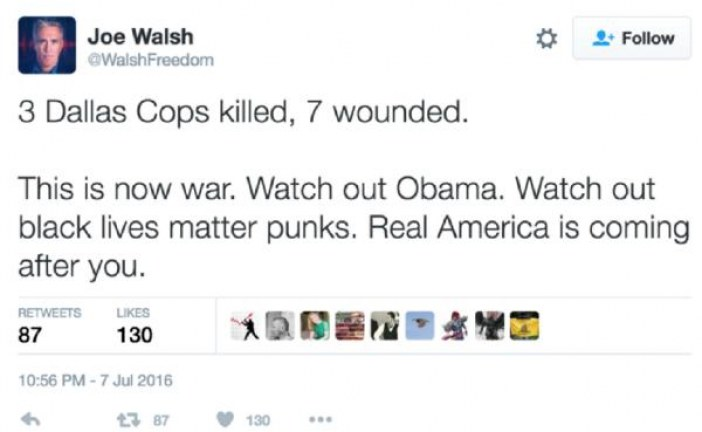 """Watch out Obama, watch out black lives matters punks because """"Real America is coming after you"""":"""