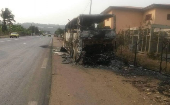 Cameroon Anglophone Crisis: A burnt out Musango bus. Developing story