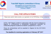 Nigerian Students: TOTAL/Quay d'Orsay scholarship 2017