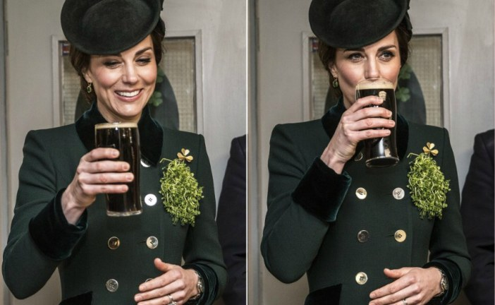 Kate Middleton smiles as she sips on Guinness in celebration of St. Patrick's day