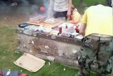 Heartless group of people in the UK make a BARBECUE on top of a grave