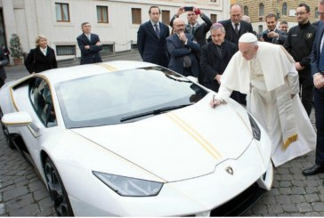 Pope Auctions White Lamborghini gift for Charity