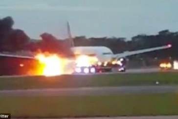 Singapore Airlines catches fire as it makes an emergency landing