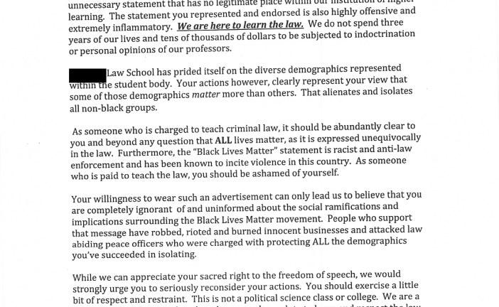 Law professor's response to BLM {Black Lives Matter} shirt complaint.