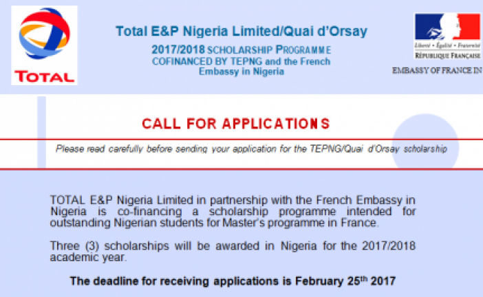 Nigerian Students: TOTAL/Quay d'Orsay scholarship 2017
