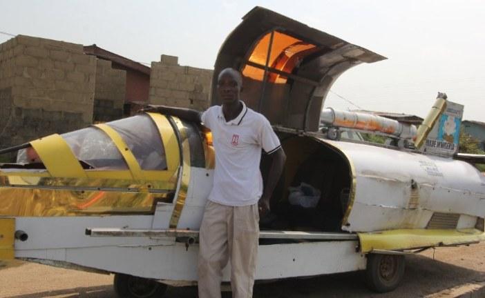 The Nigerian inventor Kehinde Durojaiye, building a flying jet car