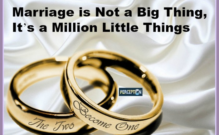 Marriage is Not a Big Thing, It's a Million Little Things