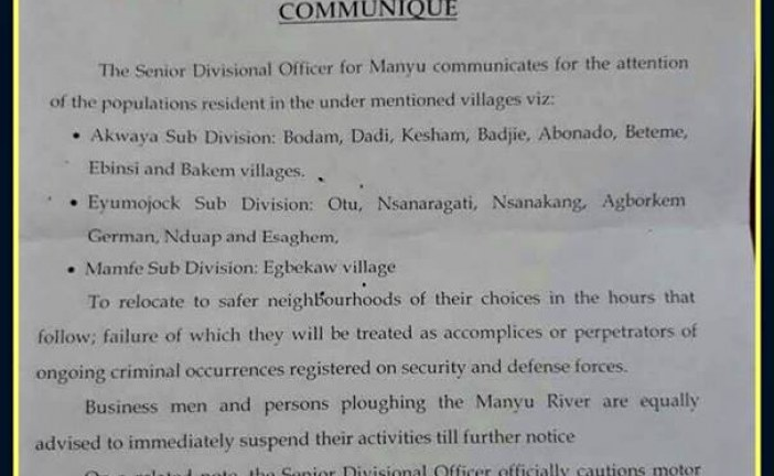 SDO of Manyu ask villagers to relocate as President Biya vows to fight Cameroon's 'separatist terrorism'